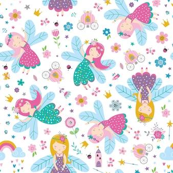 Padrão infantil sem costura com fada, flores, arco-íris e outros elementos.