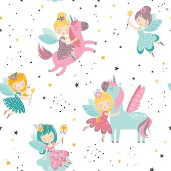 Padrão infantil sem emenda de vetor com fada unicórnio, estrelas, flores, arco-íris e outros elementos