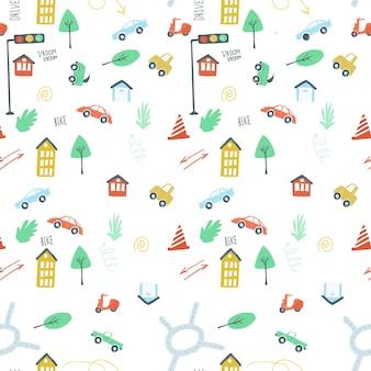 Padrão infinito definir cidade carros semáforos estrada mão simples desenho estilo ilustração vetorial