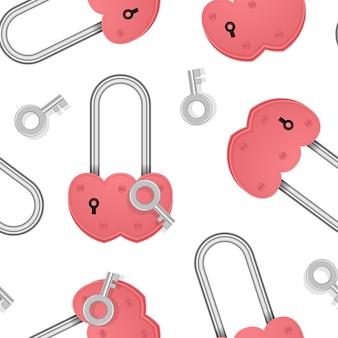 Padrão infinito sem costura com cadeado em forma de coração com padrão de chave