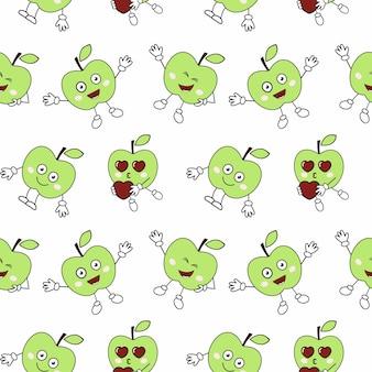 Padrão infinito sem costura com maçãs engraçadas. a capa do livro. confecção de roupas infantis em têxteis. material para papel de embalagem. plano de fundo e papel de parede.