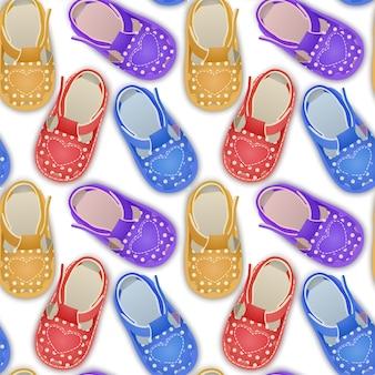 Padrão infinito sem costura com sapatos infantis