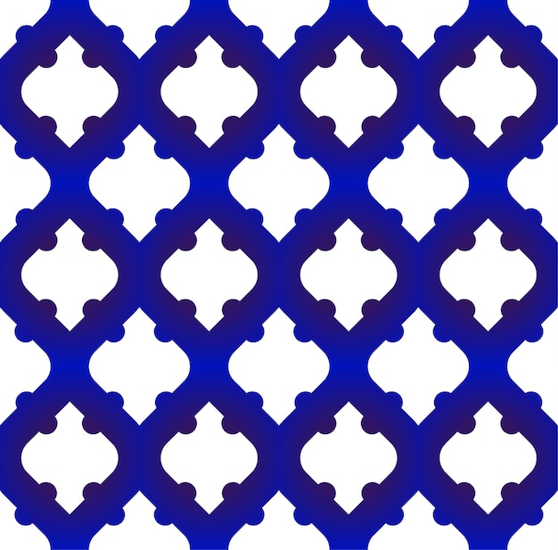 Padrão islâmico uniforme, forma moderna em azul e branco