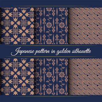 Padrão japonês em silhueta dourada. padrão japonês luxuoso