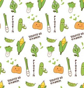 Padrão kawaii de legumes