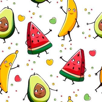 Padrão kawaii sem costura com abacate, melancia, morango e banana