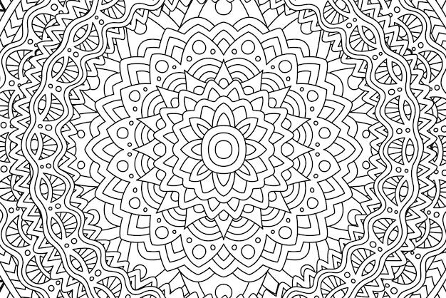 Padrão linear preto e branco para colorir livro