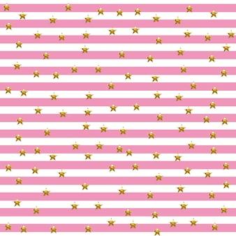 Padrão listrado estrelado na sombra rosa e ouro