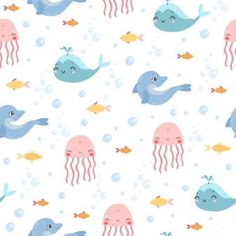 Padrão marinho. água-viva, golfinho, baleia
