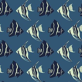 Padrão marinho sem emenda de vetor com peixes vida marinha e criaturas marinhas fundo náutico