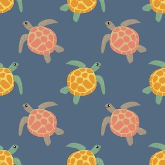 Padrão marinho. tartaruga marinha. padrão de vetor sem emenda. plano de fundo, conceito de papel de parede, papel de embrulho, cartões