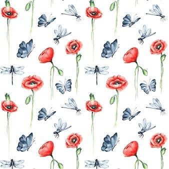Padrão minimalista de insetos e flores