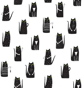 Padrão monocromático de gatos