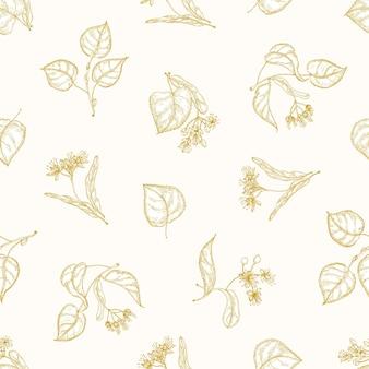 Padrão monocromático sem costura com folhas de tília e inflorescências desenhadas à mão com linhas de contorno