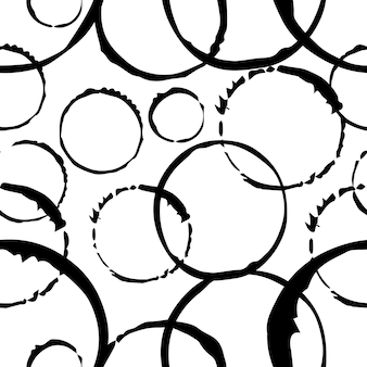 Padrão monocromático sem emenda fundo abstrato a impressão é redonda