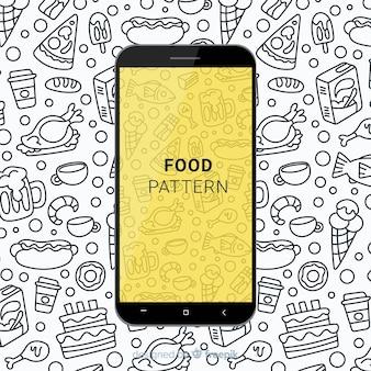 Padrão móvel de comida desenhada de mão