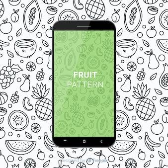 Padrão móvel de fruta desenhada de mão