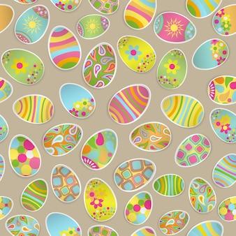 Padrão multicolorido sem costura de ovos de páscoa de papel com vários enfeites