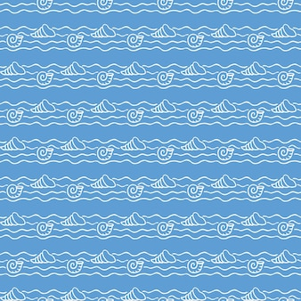 Padrão náutico, animais marinhos nas ondas. fundo de verão. ilustração de estilo elegante e luxuoso