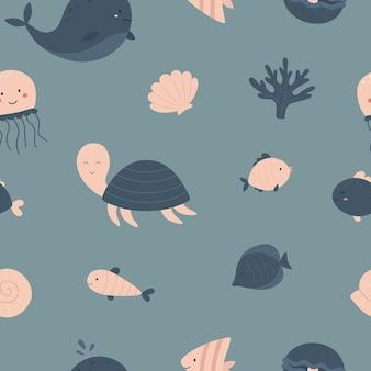 Padrão náutico uniforme vida marinha concha coral água-viva peixe baleia tartaruga