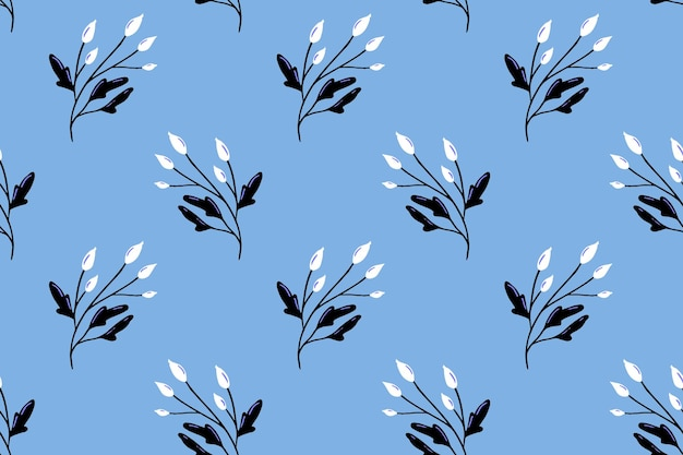 Padrão nórdico azul com bagas brancas e briar textura delicada para design têxtil