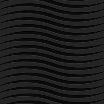 Padrão ondulado preto sem costura