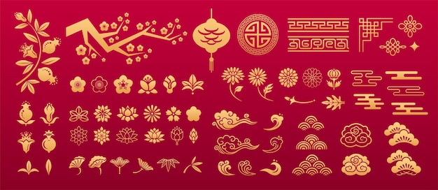 Padrão oriental chinês ornamentos decorativos tradicionais asiáticos elementos florais sakura lotus