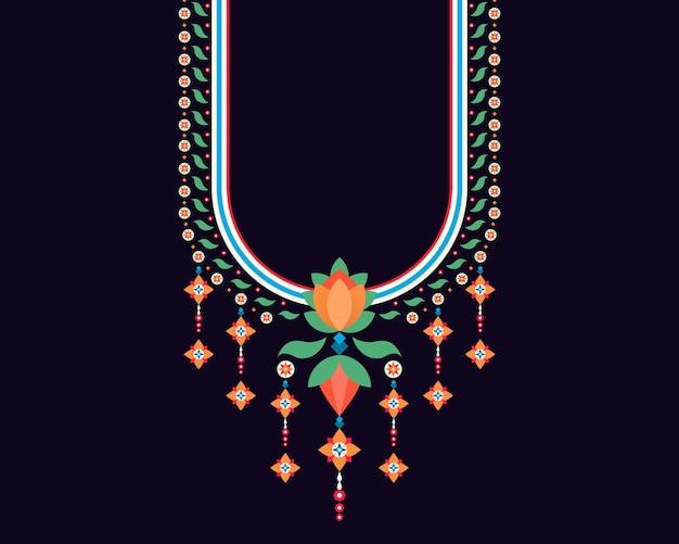 Padrão oriental étnico geométrico projeto de bordado de colar para fundo de mulher moda têxtil