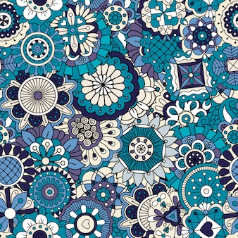 Padrão ornamental floral azul