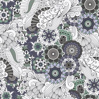 Padrão ornamental floral decorativo cinza