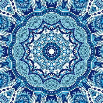 Padrão ornametal sem emenda de ornamentos circulares fundo azul de inverno