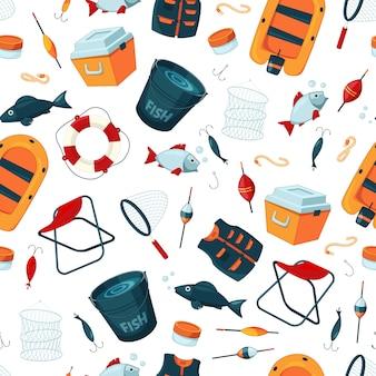 Padrão ou o fundo com equipamento de pesca dos desenhos animados