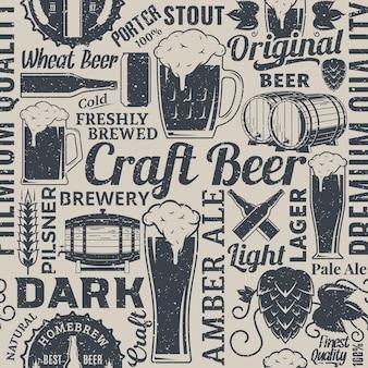 Padrão ou plano de fundo sem emenda de cerveja de vetor tipográfico retroestilado