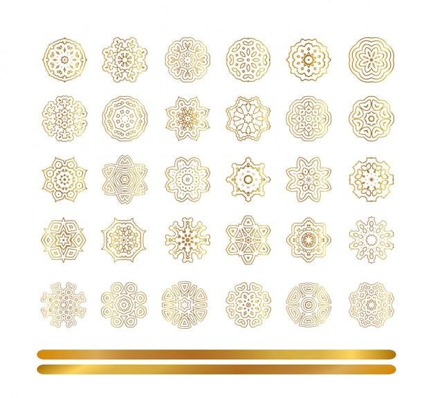 Padrão ouro oriental. conjunto de flocos de neve dourados