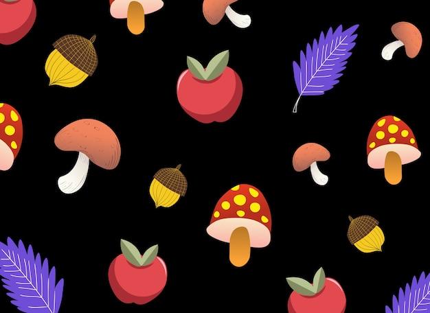 Padrão outonal com cogumelos, maçãs, bolotas e folhas roxas