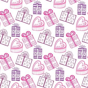 Padrão padrão de presentes. feliz aniversário feliz ou padrão de namorados