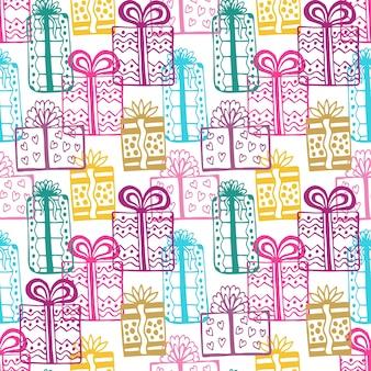 Padrão padrão de presentes. padrão colorido de feliz aniversário colorido