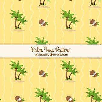 Padrão plano com palmeiras e cocos