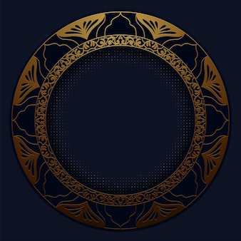 Padrão poligonal abstrato de luxo azul escuro com ouro