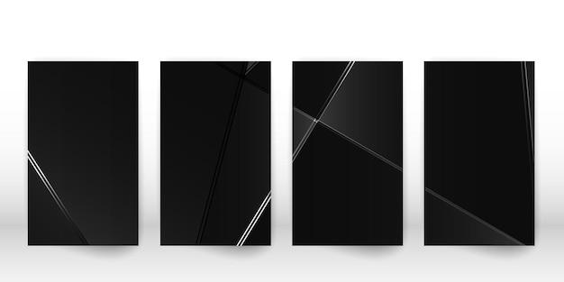 Padrão poligonal abstrato. design de capa escura de luxo com formas geométricas de prata. modelo de capa de polígono. ilustração vetorial.