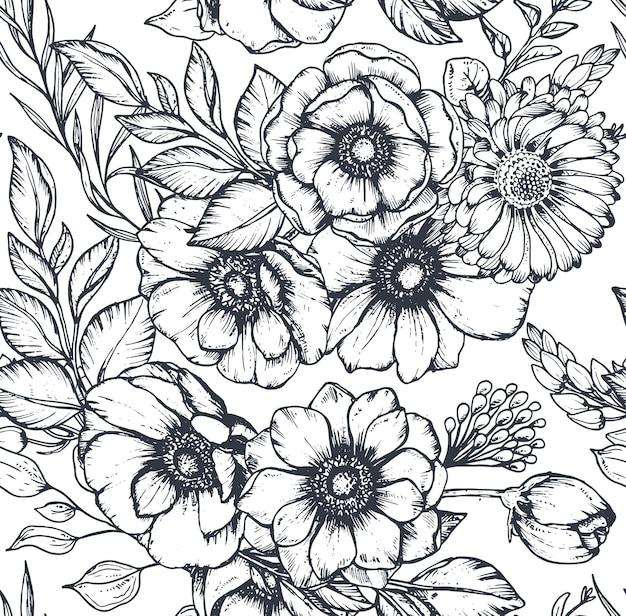 Padrão preto e branco sem costura com flores, botões e folhas de anêmona desenhada à mão