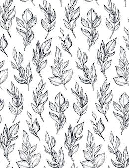 Padrão preto e branco sem costura com mão desenhada ramos e folhas no estilo de desenho.