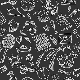 Padrão preto e branco sem costura em um tema escolar com elementos de design