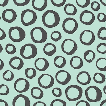 Padrão preto e branco sem emenda do vetor. fundo abstrato com pinceladas redondas