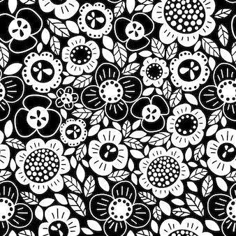 Padrão preto e branco simples de vetor de flores estilizadas abstratas