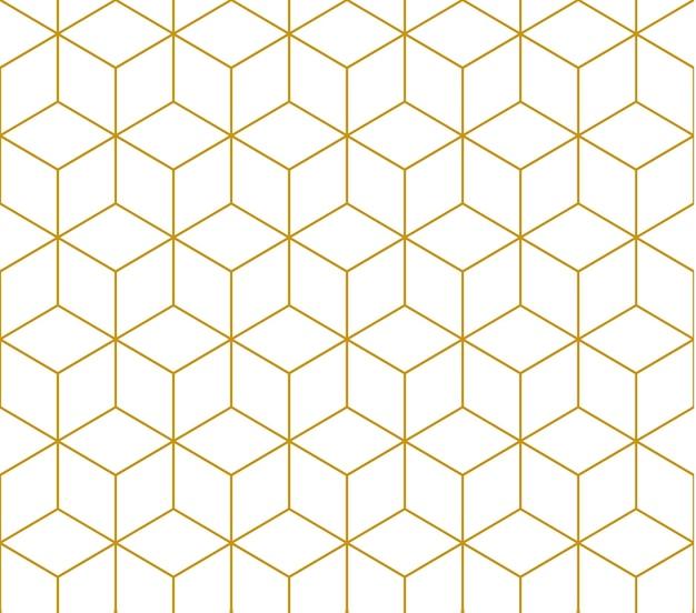 Padrão quadrado de contorno dourado, padrão sem emenda de vetor. padrão incluído na amostra.