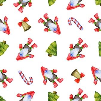 Padrão repetitivo sem costura com gnomos de natal bonitos e árvores de peles e decorações retratadas no branco.