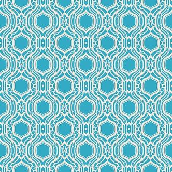 Padrão retro azul abstrato com folhas e molduras