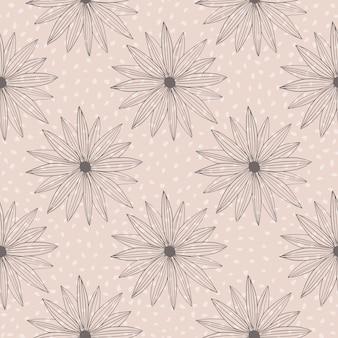Padrão retro com flores negras sobre fundo rosa com pontos brancos