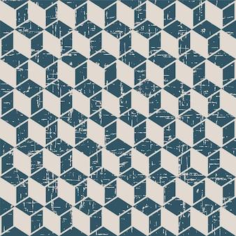 Padrão retro com geometria quadrada cúbica